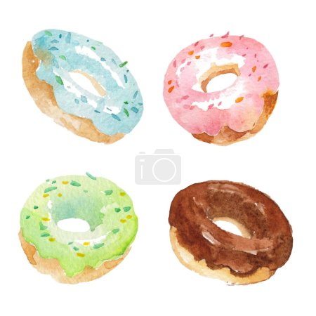Photo for Donuts set on white background watercolor stock illustration - Royalty Free Image