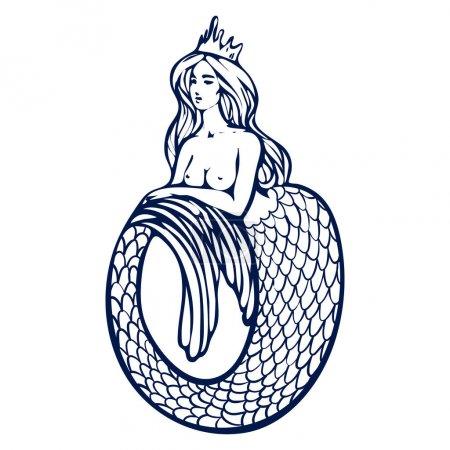 Photo pour Belle sirène aux cheveux longs et à l'histoire courbée. Illustration vectorielle dessinée à la main, dessin au trait sur fond blanc, dessin pour page de livre en couleur - image libre de droit