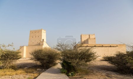 Two Barzan watchtowers built with coral rock and limestone behind desert bushes, Umm Salal Mohammed Fort Towers, ancient Arabian fortification near Umm Salal Muhammad town and Doha city, Qatar.