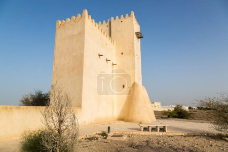 Barzan watchtowers built with coral rock and limestone, Umm Salal Mohammed Fort Towers, ancient Arabian fortification near Umm Salal Muhammad town and Doha city, Qatar.