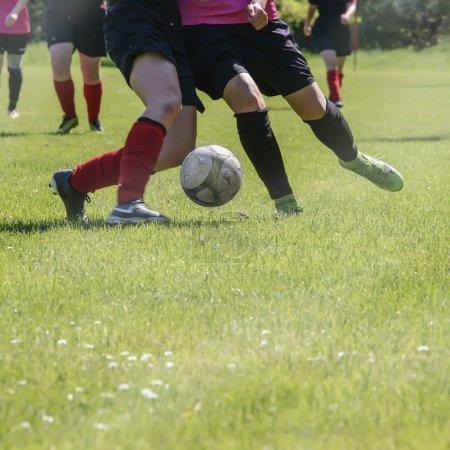 Football match of womens sports