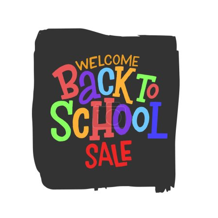 Illustration for Welcome back to school sale hand drawn colorful lettering inscription. Vector illustration. - Royalty Free Image