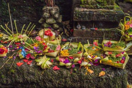Photo pour Offres quotidiennes - canang sari est très important à Bali, Indonésie . - image libre de droit