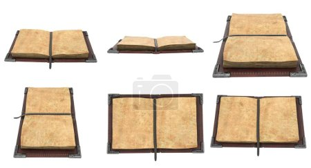 Photo for Old open leather book on isolated white background.. 3d illustration - Royalty Free Image