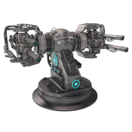 Photo pour Pistolet de science-fiction avec quatre pistolets sur fond isolé. Illustration 3d - image libre de droit