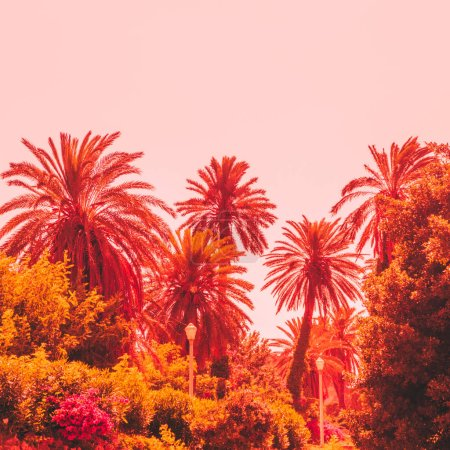 orange palm trees and plants against the sky. bright neon colors. minimal and surreal. summer holidays. urban style. 80s style