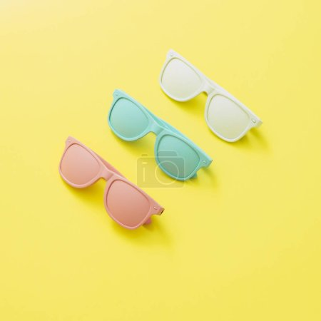 Photo for Sunglasses painted in white, pink and blue colors on yellow background. Fashion accessories. - Royalty Free Image