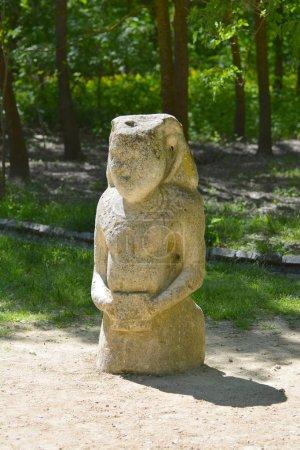statue of a Polovtsian stone woman or boundary stone in the spring garden Biosphere Reserve Askania Nova, Ukraine.