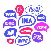 Nice happy fun sexy yeah ugh yay wow Sticker set with bubble speech for social media content Vector hand drawn illustration design