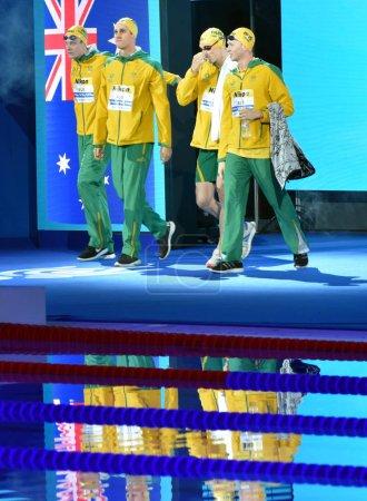 Budapest, Hungary - Jul 28, 2017. Team Australia (LEWIS Clyde, HORTON Mack, GRAHAM Alexander, CARTWRIGHT Jack) in the Men 4x200m Freestyle Final. FINA Swimming World Championship in Duna Arena.