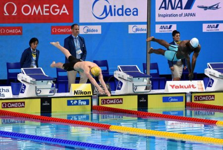 Budapest, Hungary - Jul 26, 2017. Competitive swimmer CARTWRIGHT Jack (AUS) and METELLA Mehdy (FRA) in the 100m freestyle Semifinal. FINA Swimming World Championship was held in Duna Arena.