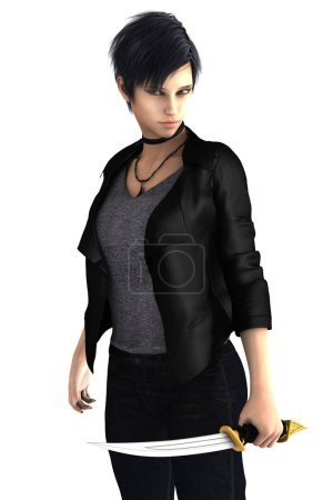 Photo for Sexy urban fantasy assassin ready to hunt vampires and zombies. This figure is rendered in a softer illustrative style particularly suited to book cover art work. One of a series available as full figure or close up. - Royalty Free Image