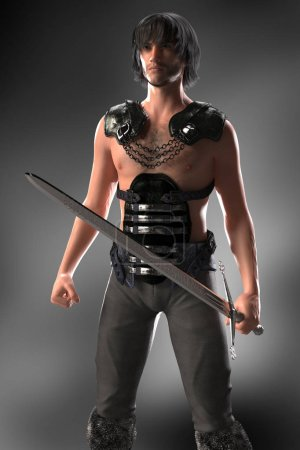 Photo for Full figure CGI medieval style fantasy warrior figure ideal for highlander, elven, urban fantasy and science fiction genres, in a ready to defend or fight pose. One of a series. - Royalty Free Image