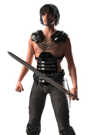 Photo for Full figure CGI medieval style fantasy warrior figure ideal for highlander, elven and urban fantasy and science fiction genres, in a ready to defend or fight pose. One of a series. - Royalty Free Image
