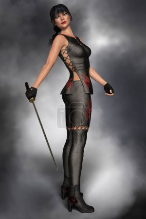 Photo for Strong beautiful 3d female urban fantasy paranormal character with attitude. Elegantly styled wearing black leather and holding a katana sword. This figure is particularly suited to book cover art work. - Royalty Free Image