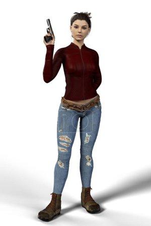 Photo pour Isolé beau, sexy, assassin féminin 3D tenant un pistolet et regardant la caméra. Particulièrement adapté aux couvertures de livres et au design . - image libre de droit