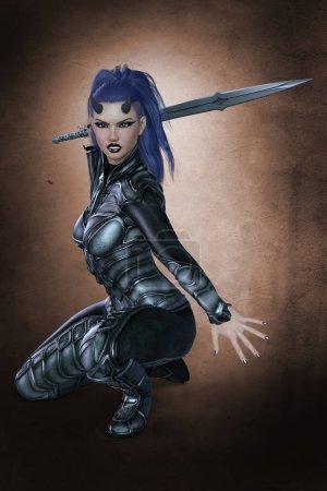 Photo pour Rendu dans un style adapté à la conception de couverture de livre, ce personnage féminin guerrier CG est particulièrement adapté à la fantaisie, Gamelit, super-héros, science-fiction, et le style LitRPG et un certain nombre d'autres genres. Un d'une série . - image libre de droit