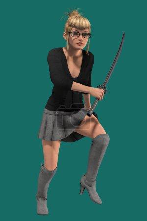 Photo pour Illustration 3D d'une jolie nerd tenant une épée katana. Cette figure est rendue dans un style illustratif plus doux particulièrement adapté à l'œuvre d'art de couverture de livre. Un d'une série . - image libre de droit