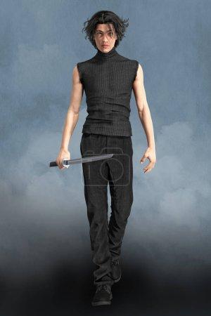 Photo pour Homme 3D fantaisie urbaine personnage paranormal tenant une épée katana. Cette figure est rendue dans un style illustratif plus doux particulièrement adapté à l'art de couverture de livre et à une gamme d'utilisations d'œuvres d'art. Un d'une série . - image libre de droit