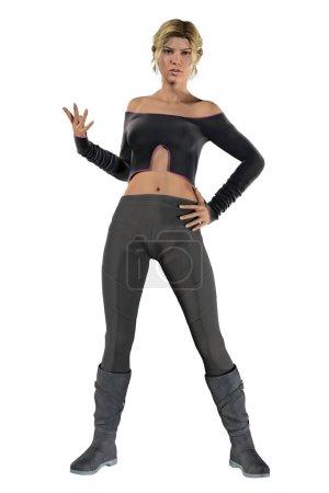 Photo pour Illustration numérique 3D d'une jeune femme prête à défendre ou combattre le style de pose imaginaire urbain. Cette figure est rendue dans un style illustratif plus doux particulièrement adapté à l'œuvre d'art de couverture de livre. Un d'une série . - image libre de droit