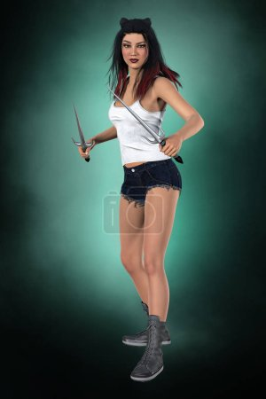 Photo for A 3D digital illustration of a beautiful vampire hunter or slayer holding two blades. This figure is rendered in a softer illustrative style particularly suited to book cover art work. One of a series. - Royalty Free Image
