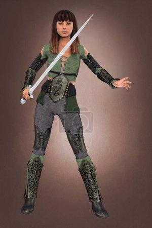 Photo pour 3D belle femme brune guerrière tenant une épée. Rendu dans un style illustratif plus doux particulièrement adapté à l'art de la couverture de livre et au design. Un d'une série . - image libre de droit