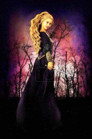 Photo pour Une illustration numérique de style peinture Renaissance d'une femme noble vêtue d'un costume médiéval. Particulièrement adapté à la couverture de livres d'art et de design dans les romances historiques et montagneuses, la fantaisie et les genres elfes . - image libre de droit