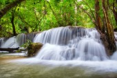 Beautiful Huay Mae Khamin waterfall in tropical rainforest at Srinakarin national park, Kanchanaburi, Thailand