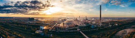 Photo for Industrial landscape with heavy pollution produced by a large factory - Royalty Free Image