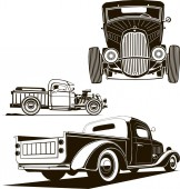 vector classic hot rod car set clip art monogram graphic illustration front view side view isolated