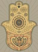 illustration handmade drawing-Vector Indian hand drawn hamsa with ethnic design