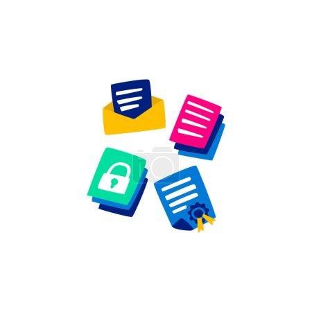 Vector Flat set protecting personal data hacking.