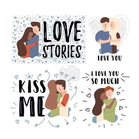 Illustration pour Bannière plate vectorielle définie Embrasse-moi. Une histoire d'amour que je t'aime tant. Il embrasse sa copine. Une femme a un fort attachement à votre mari et se tient la main. Adolescent câlins femme noire dans un pull rouge - image libre de droit