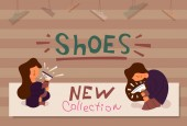 Vector Flat Banner new collection of shoes store