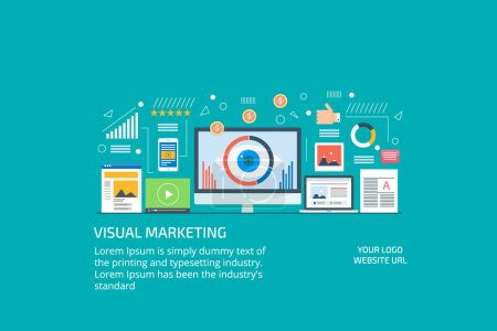 Visual marketing, digital story telling, data driven marketing, viral content, infographic concept.Flat design vector illustration.