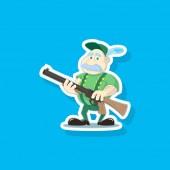 Color flat art vector illustration of a cute cartoon hunter with a gun