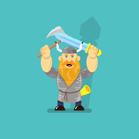Colored cartoon illustration of a Viking with a sw...
