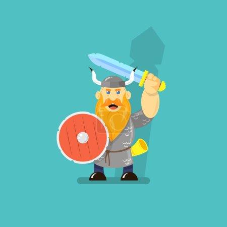 Colored flat art cartoon illustration of a viking ...