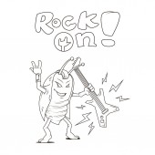 Black and white line art cartoon illustration of a rocker beetle with a guitar