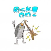 Colored simple comics cartoon illustration of rocker cockroach with guitar