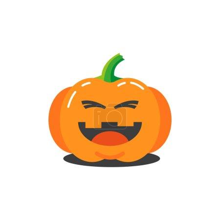 Illustration pour Illustration colorée d'un dessin animé simple citrouille drôle pour Halloween qui rit - image libre de droit