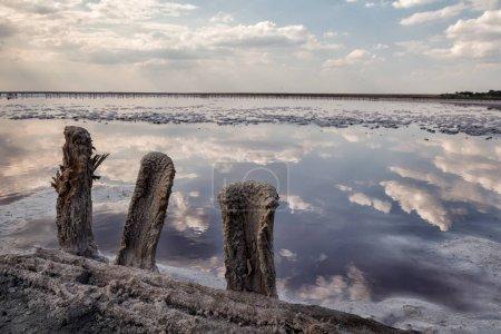 Photo pour Vieux poteaux en bois laissés après l'extraction du sel sur la rive d'un lac salé. Réflexion des nuages dans la surface de l'eau. - image libre de droit