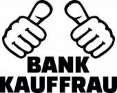 Female banker or bank clerk thumbs german