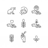 Vector set of logos badges and icons for natural and organic products Eco safe sign design Collection symbol of healthy products