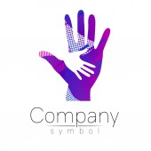 Vector illustration Symbol of Charity Sign hand isolated on white backgroundBlue Icon company web card print Modern bright element orphans Help kids campaign Family children Blue violet color