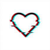 Vector glitched symbol of heart in glitch style Icon of love isolated on white background Modern digital pixel distorted design Television video error shape For print wallpaper web logo