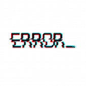 Vector symbol of word ERROR in glitch style Geometric letters glitched Icon isolated on white background Digital pixel text distorted design Television video shape For print wallpaper web logo