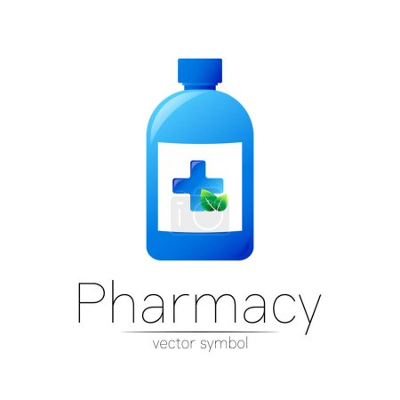 Pharmacy vector symbol with blue bottle and cross, green leaf for pharmacist, pharma store, doctor and medicine. Modern design vector logo on white background. Pharmaceutical icon logotype . Health