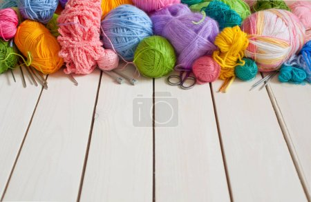 Photo for Colored balls of yarn. Rainbow colors. Yarn for knitting. Skeins of yarn. - Royalty Free Image