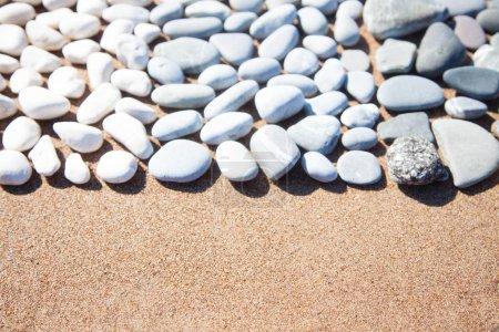 Photo pour Mensonge de pierres de galets blancs sur un fond sablonneux. - image libre de droit